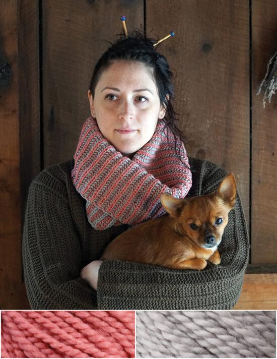 Knitting Kits Popham Cowl Kit - Pink Clover