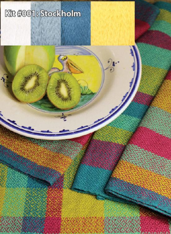 Weaving Kits Organic Cottolin (Cotolin)  Stockholm Tea Towel Kit Number 1