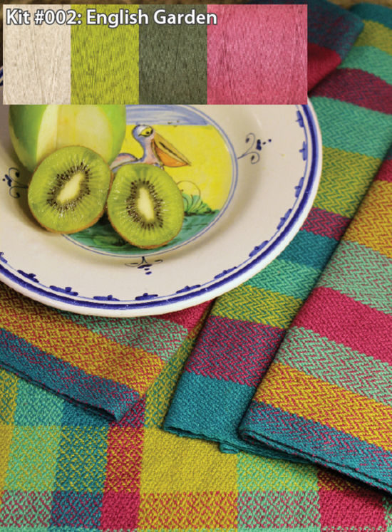 Weaving Kits Organic Cottolin (Cotolin)   English Garden Tea Towel Kit Number 2