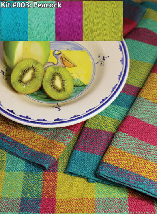 Weaving Kits Organic Cottolin (Cotolin)  Peacock Tea Towel Kit Number 3