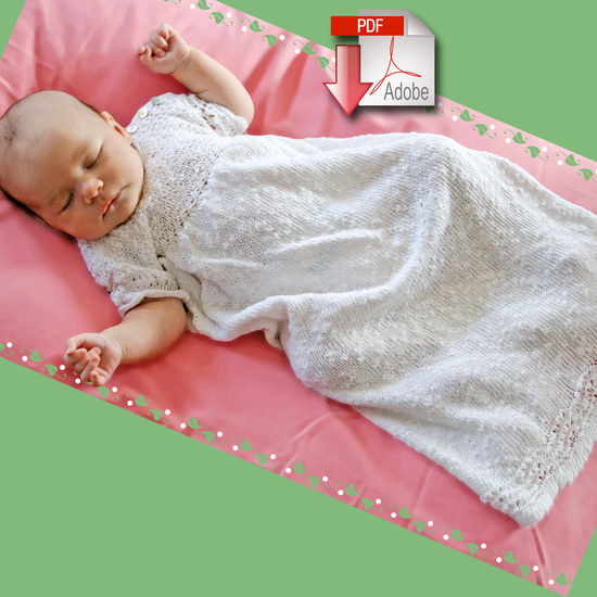 Knitting Patterns Christening Gown - Block Island Blend - Pattern download