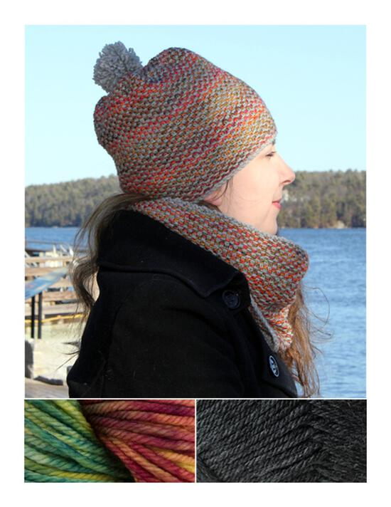 Knitting Kits Telephone Line Set - Hat and Cowl Kit - Arco Iris