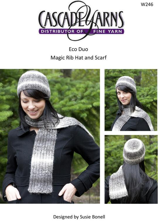 Knitting Patterns Cascade Eco Duo Magic Rib Hat and Scarf Pattern