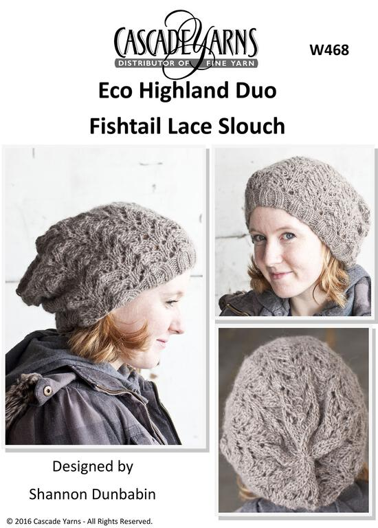 Knitting Patterns Cascade Eco Duo Highland Fishtail Lace Slouch Hat
