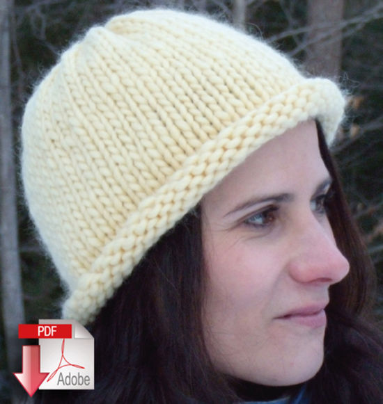 Knitting Patterns Roll Brim Hat - Pattern download