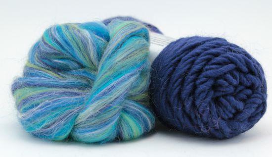 Knitting Kits Snuggly Stuffed Mitten Kit, navy and aqua