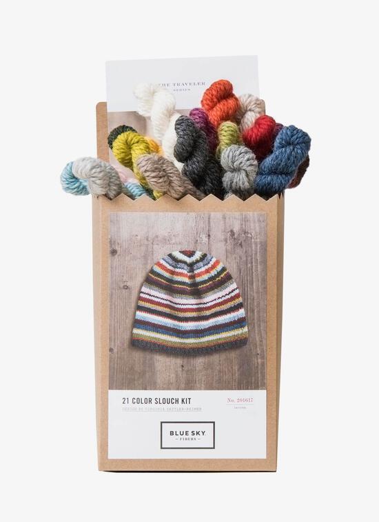 Knitting Kits Blue Sky Fibers 21 Color Slouch Hat Kit