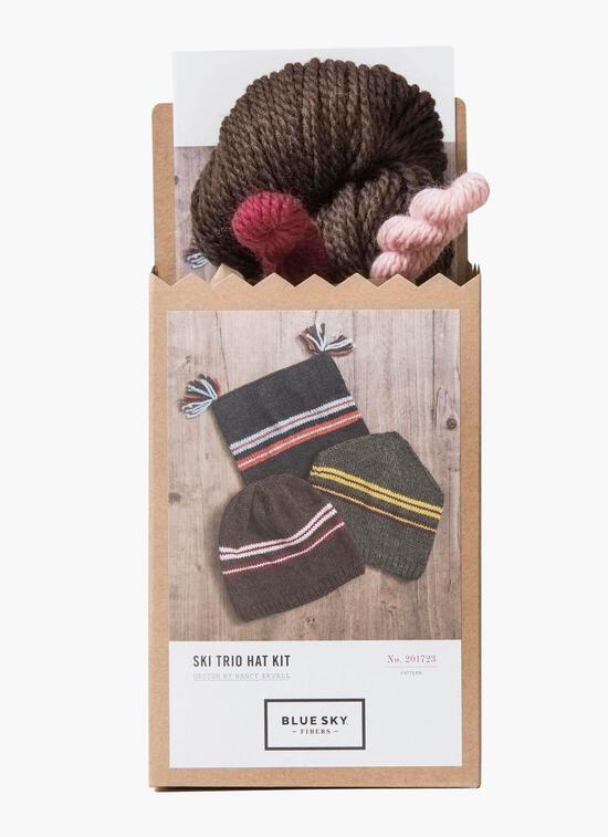 Knitting Kits Blue Sky Fibers Ski Hat Trio (Brown) Kit