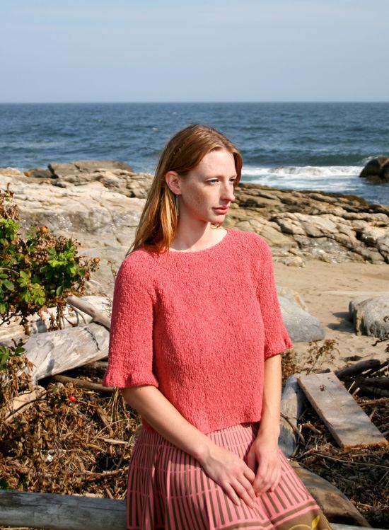 Knitting Patterns Petal Sleeve Top - Gemstone Silk Boucle