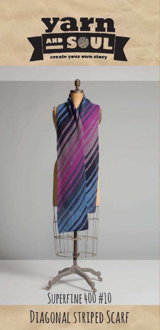 Knitting Patterns Diagonal Scarf Pattern by Yarn and Soul