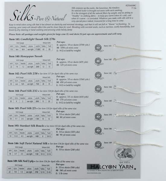 Multi-Craft Equipment Silks Pure and Natural Sample Card