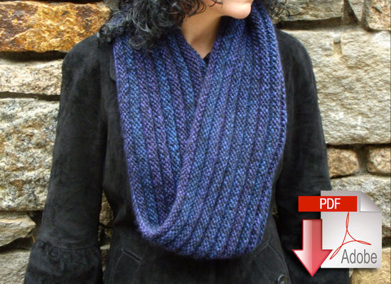 Knitting Patterns Rippling Ringlet Infinity Cowl - Pattern download