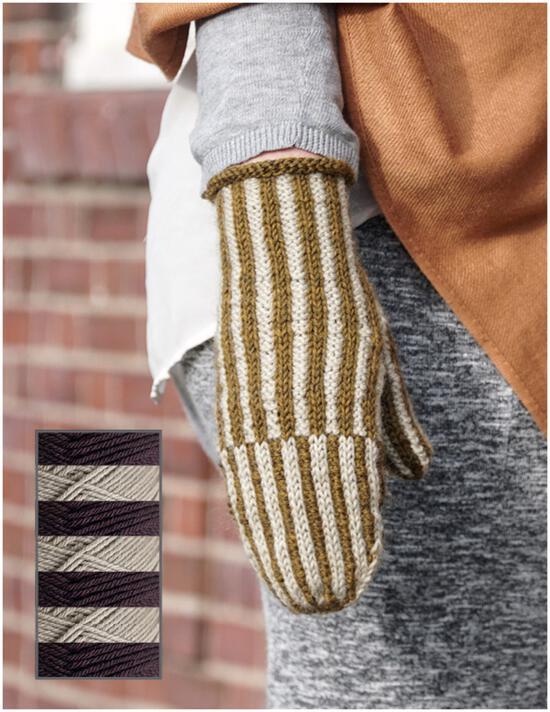 Knitting Kits Corrugated Mitts Kit - Muscat