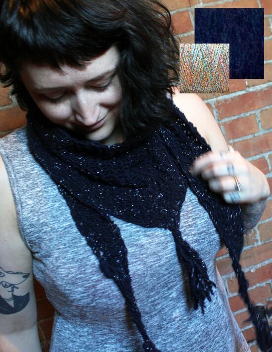 Spinning Kits Starlight Shawlette Spin and Knit Kit - Midnight