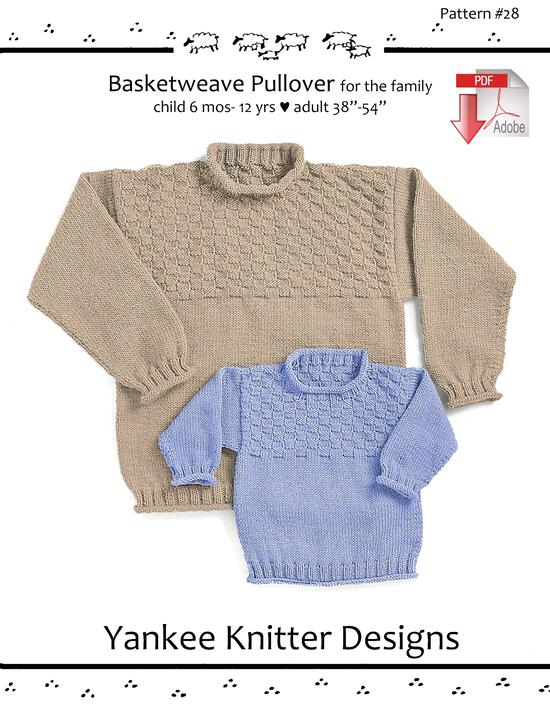 Knitting Patterns Basketweave Pullover for the Family