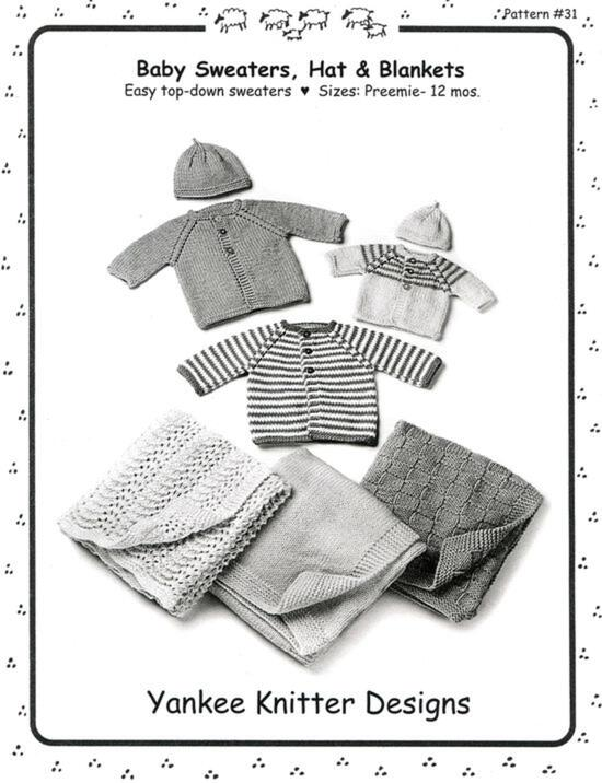 Knitting Patterns Baby Sweaters, Hats and Blankets - Yankee Knitter  - Pattern download