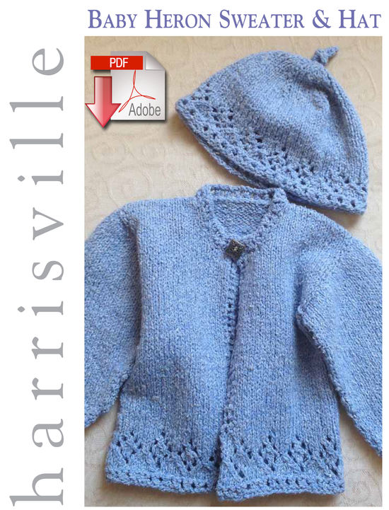 Knitting Patterns Baby Heron Sweater and Hat - Pattern download Harrisville Designs