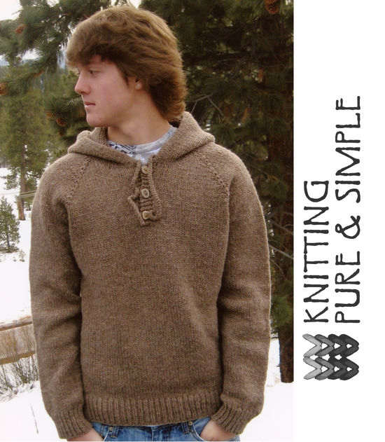 Knitting Patterns Neck Down Menaposs Hooded Hoodie Pullover  by Knitting Pure and Simple