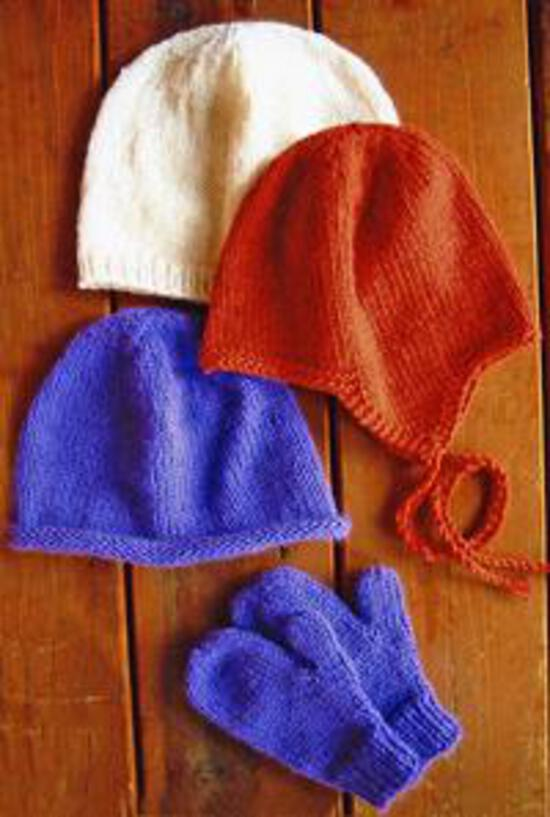 Knitting Patterns Basic Hat and Mitten Set for Children by Knitting Pure and Simple