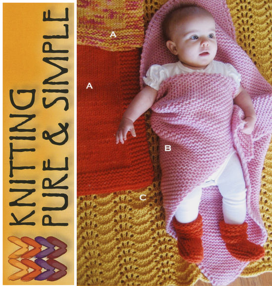 Knitting Patterns Bulky Baby Blanket and Booties by Knitting Pure and Simple
