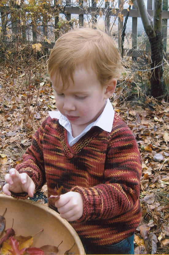 Knitting Patterns Children's V-Neck Down Pullover by Knitting Pure and Simple