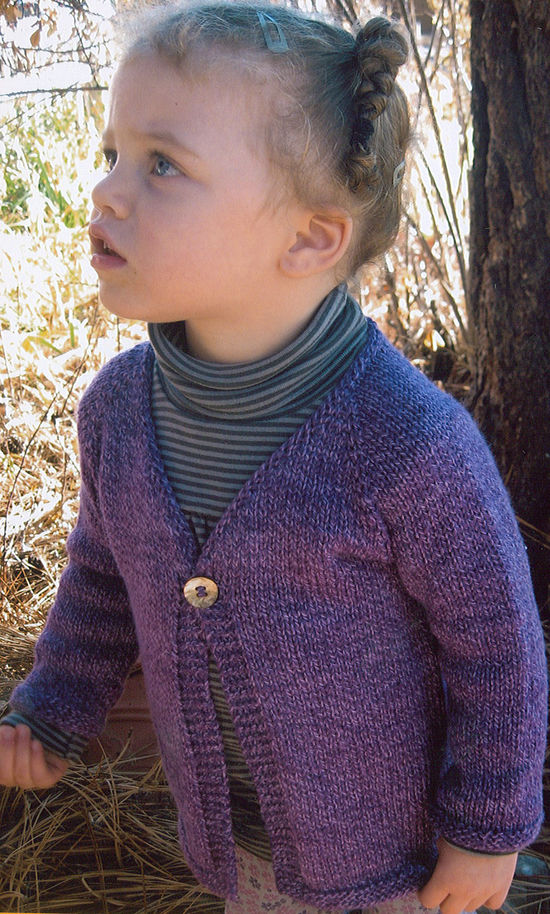 Knitting Patterns Girl's One Button Cardigan by Knitting Pure and Simple