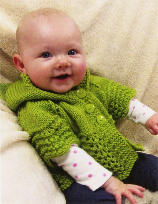 Knitting Patterns Lacy Baby Hoodie by Knitting Pure and Simple