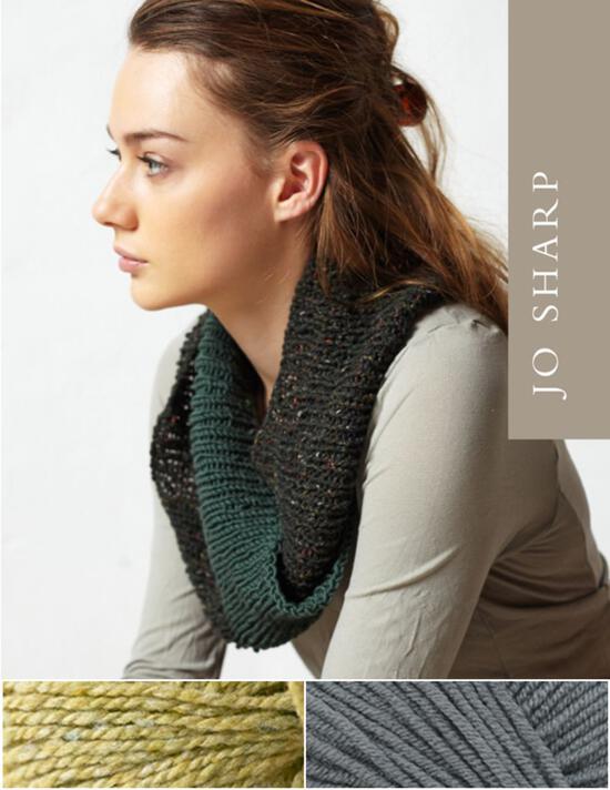 Knitting Kits Jo Sharp Rib Twist Cowl Kit - Ambrosia/Gray