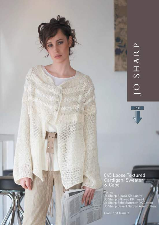 Knitting Patterns Jo Sharp Loose Textured Cape, Cardigan and Sweater - Pattern Download