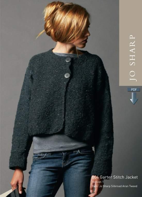 Knitting Patterns Jo Sharp Garter Stitch Jacket and Cabled Hat Pattern - Pattern Download
