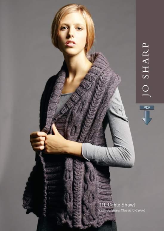 Knitting Patterns Jo Sharp Cable Shawl plus Unisex V-Neck Sweater - Pattern Download