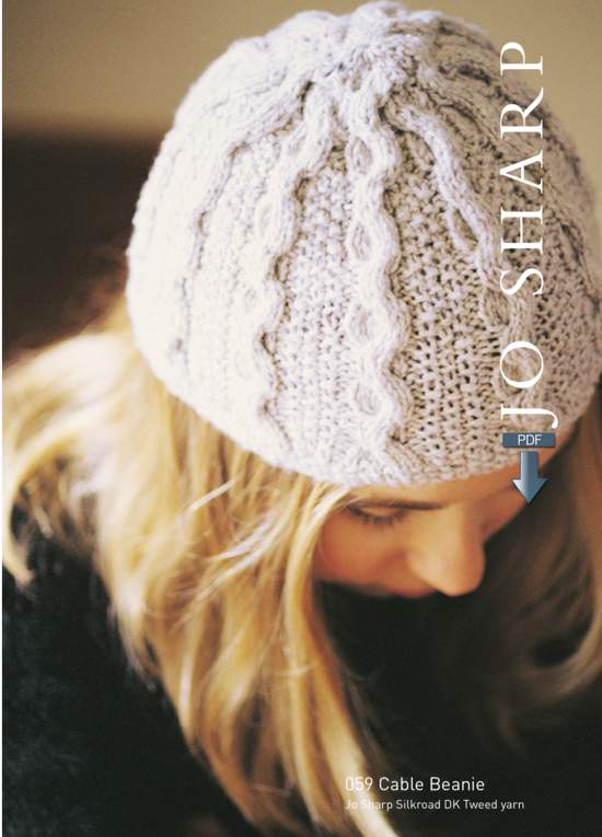 Knitting Patterns Jo Sharp Cable Beanie and Textured Scarf - Pattern Download