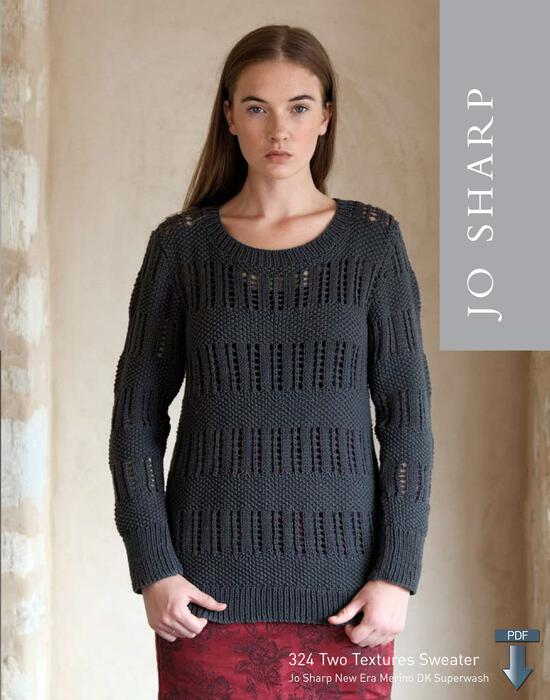 Knitting Patterns Jo Sharp Two Textures Sweater - Pattern Download