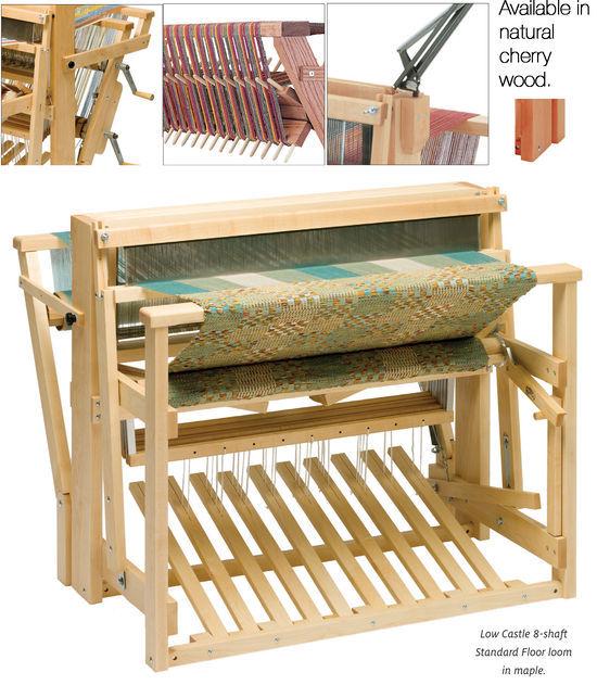 """Weaving Equipment Schacht 46"""" Low Castle Floor Loom 8-Shaft 10-Treadle Loom, maple"""