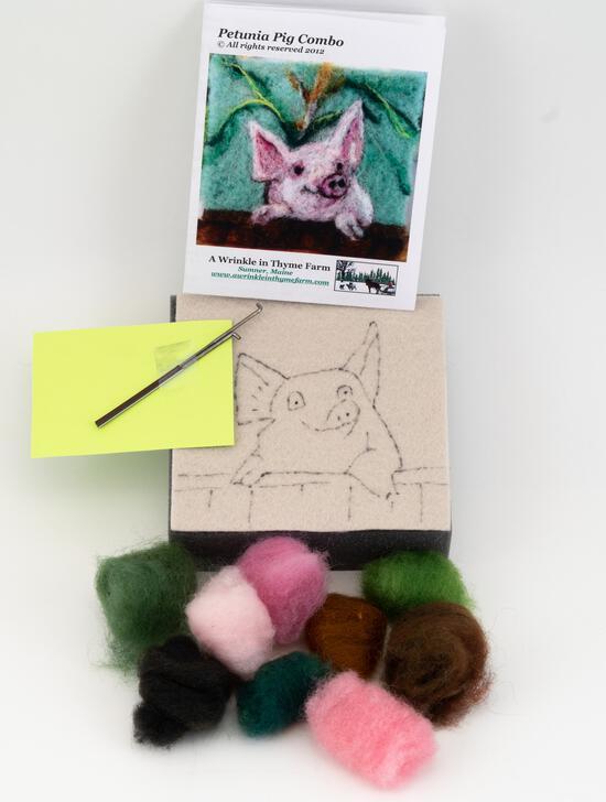 Felting Kits Pig Tile Felting Kit (tools included)