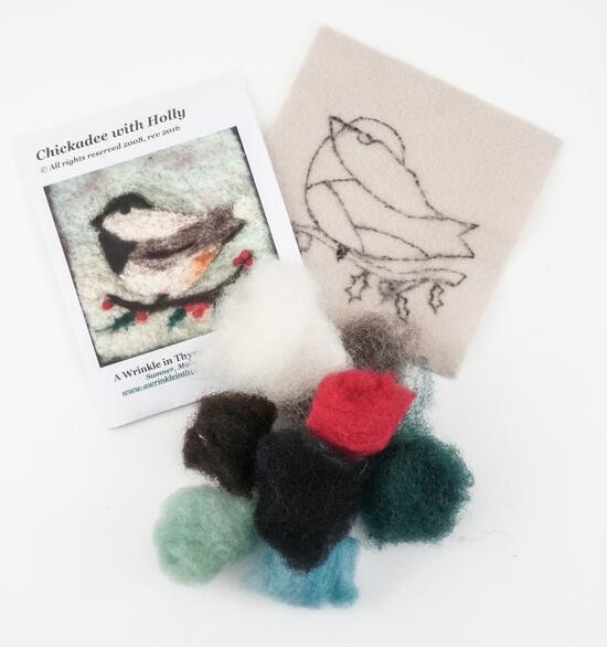 Felting Kits Christmas Chickadee Tile Felting Kit