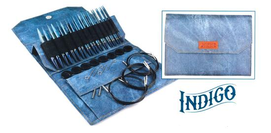 "Knitting Equipment Lykke 5"" Interchangeable Circular Knitting Needle Set - Indigo Faux Denim Case"