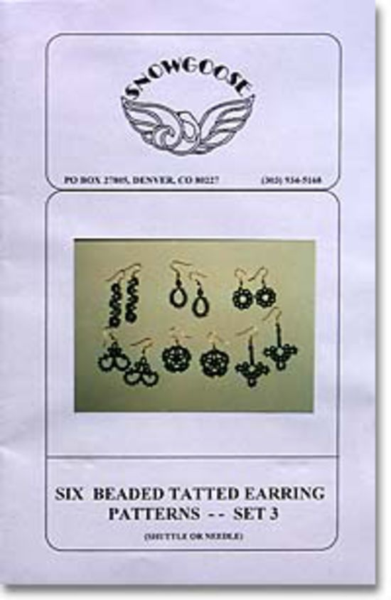 Bobbin Lace and Tatting Patterns Beaded Tatted Earrings Set 3