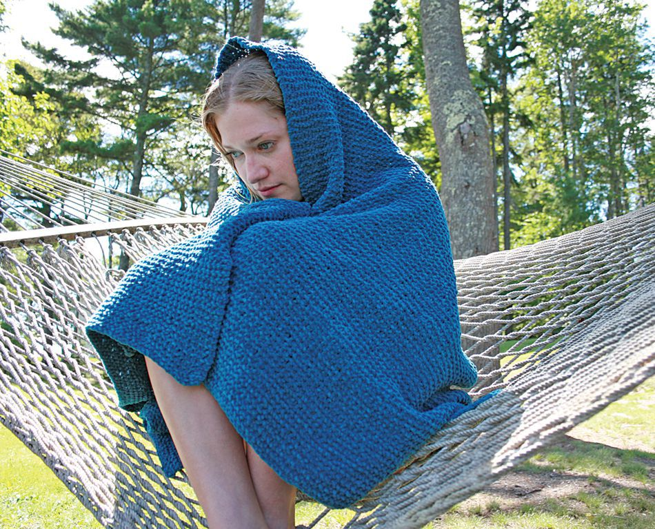 Knitting Pattern For Chenille Throw : Casco Cottage Knitted Throw - Casco Bay Bulky Chenille, Knitting Pattern - Ha...