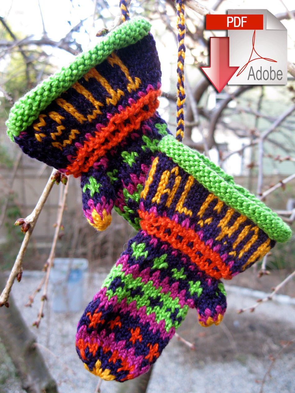Christmas Mitten Ornament - 3/2 Pearl Cotton - Pattern download, Knitting Pat...