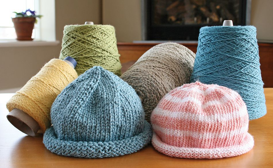 Knit Baby Hats Patterns Roll Brim : Casco Bay Baby Roll Brim Hats, Knitting Pattern - Halcyon Yarn
