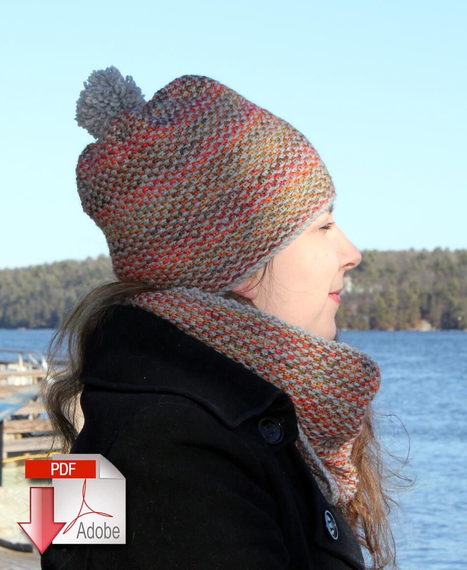 Free Knitting Pattern For Cushion Cover : Telephone Line Set - Hat and Scarf Pattern Download, Knitting Pattern - Halcy...