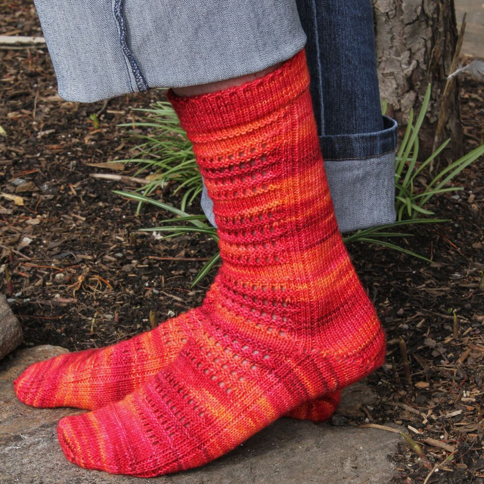Strings of Rubies Socks - Fingering Weight, Knitting Pattern - Halcyon Yarn