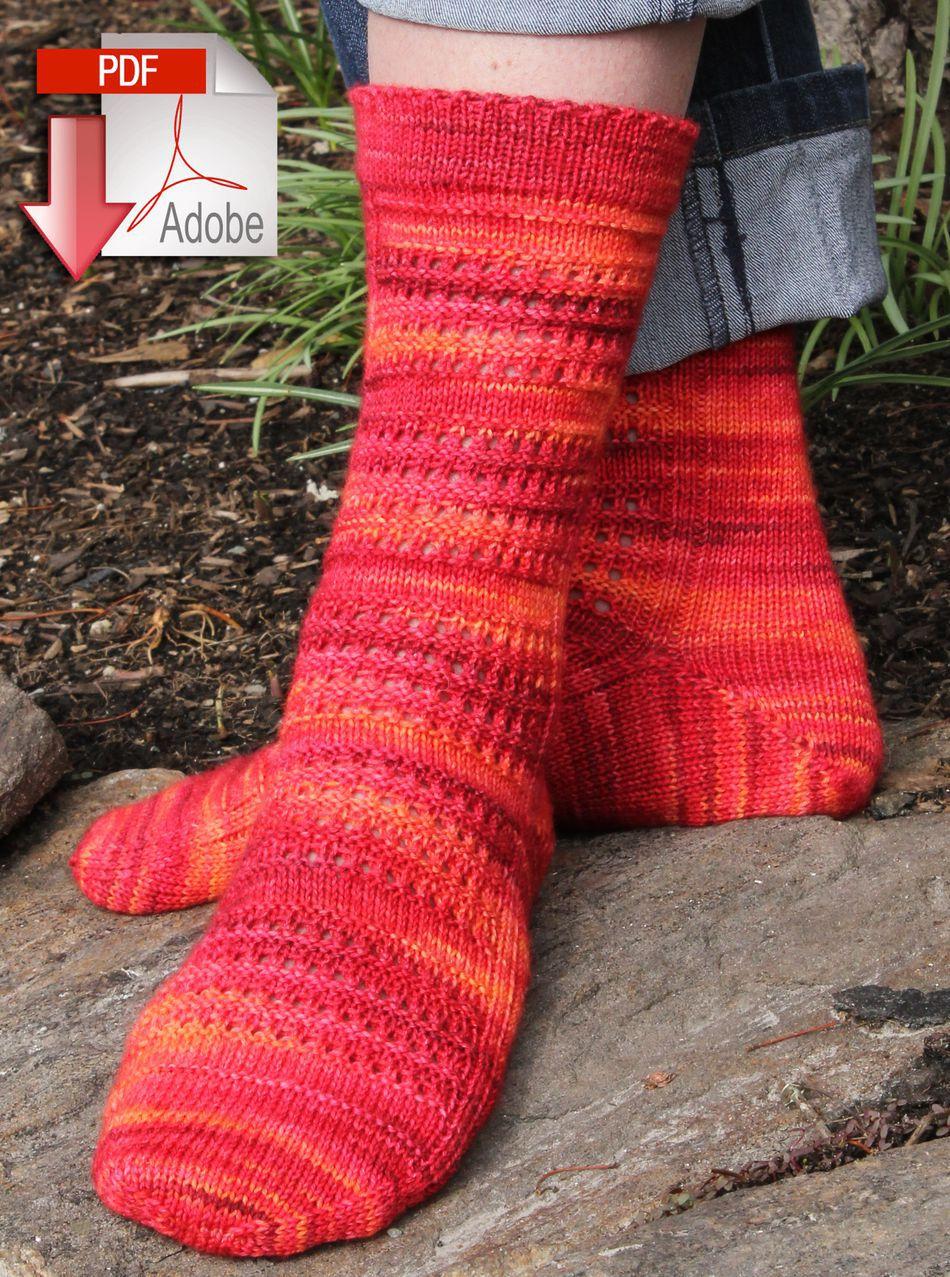 Knitting Pattern Women s Socks : Strings of Rubies Socks - Fingering Weight - Pattern ...