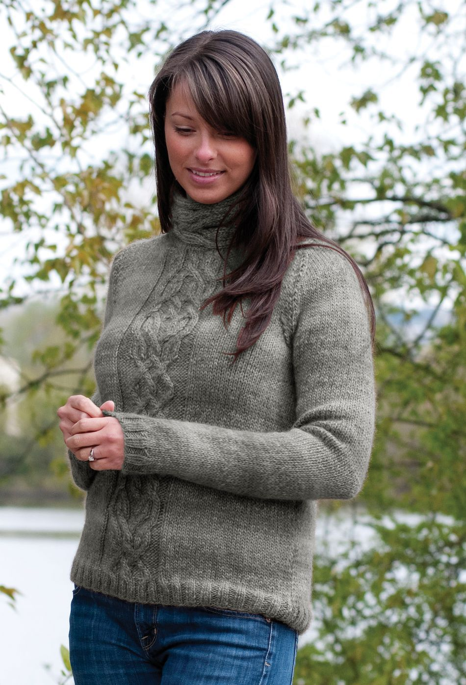 Knitting Patterns Cascade Eco Duo Cabled Pullover Pattern