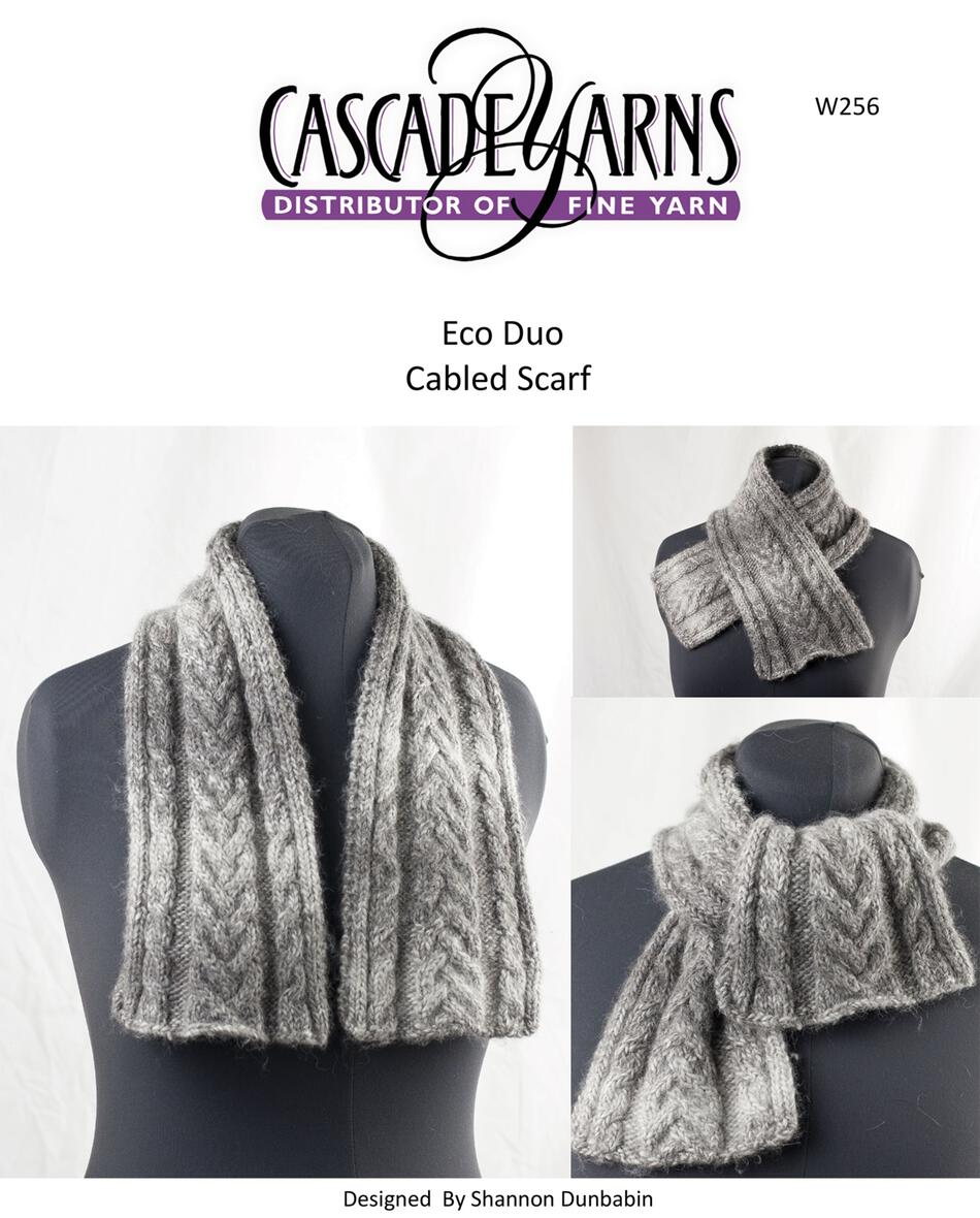 Cascade Eco Duo Cabled Scarf Pattern Knitting Pattern Halcyon Yarn