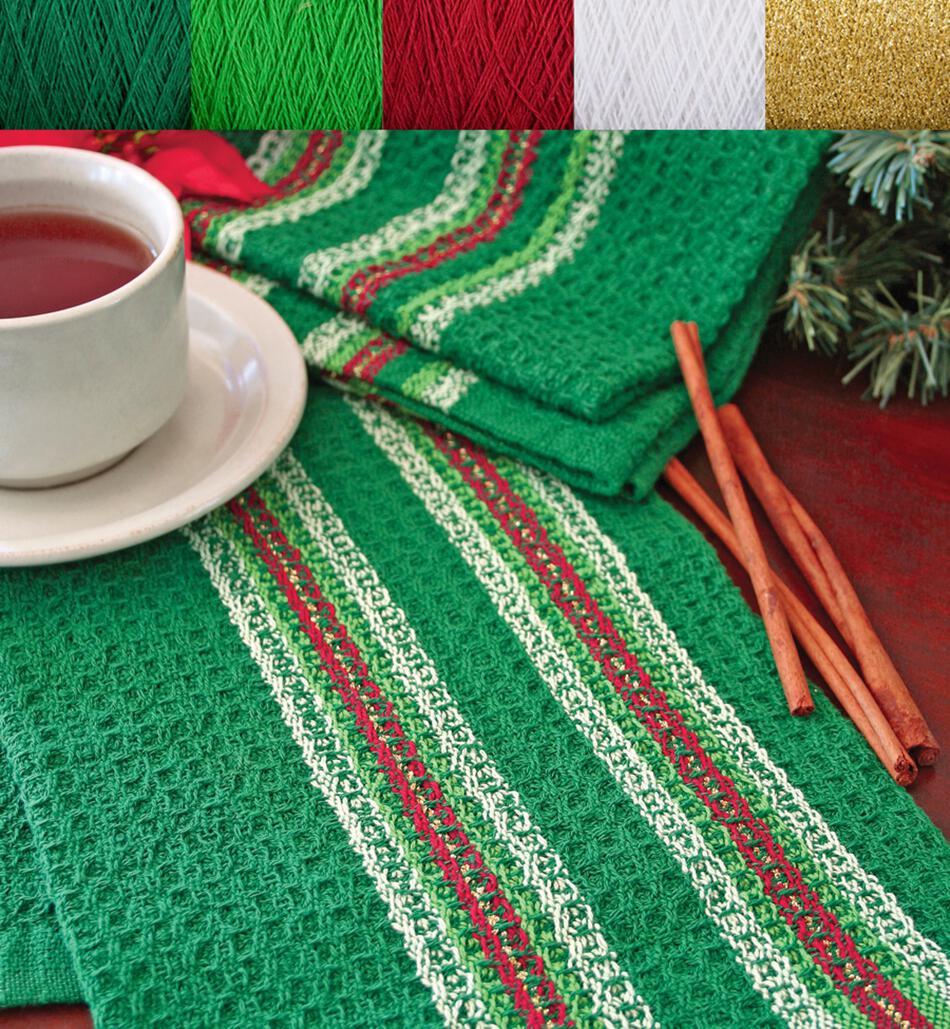 Weaving Kits Waffle Weave Dish Towel Kit Holiday Greens