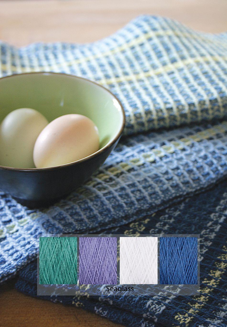 Waffle Weave Dish Towel Kit   Seaglass