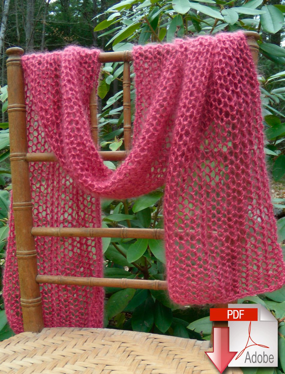 Knitting Patterns Silky Honeycomb Scarf  Download