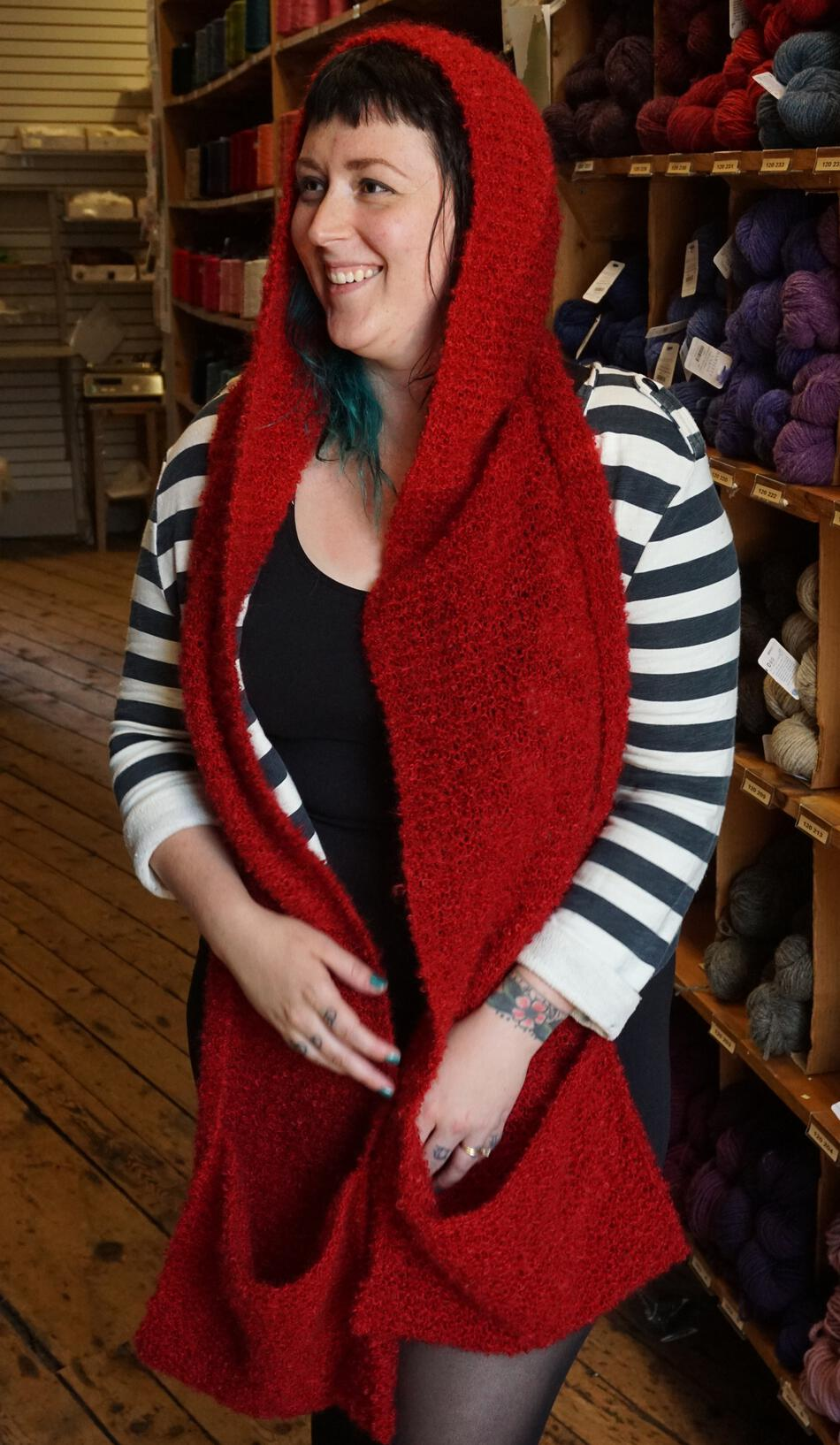Gimme Shelter Hooded Scarf With Pockets Knitting Pattern